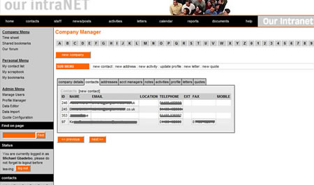 Web app Intranet