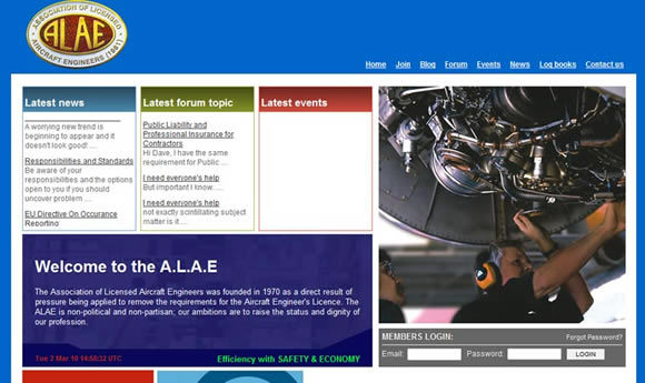 Association of Licensed Aircraft Engineers : <a href='http://www.alae.org' target='portfolio'>http://www.alae.org/</a>